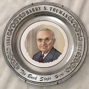 Harry S Truman Pewter Collectors Plate 1975
